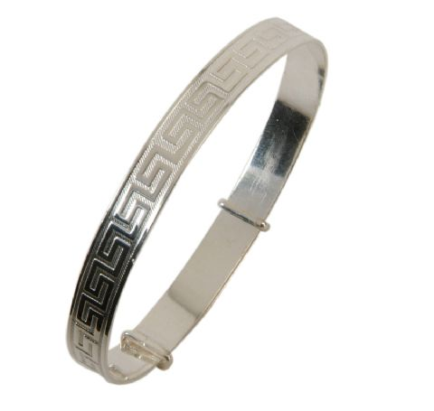 Sterling Silver Expanding Bangle - Greek Key Design - Teenage to Adult Sizes